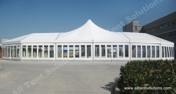 Customized High Peak Mixed Tent with Glass Wall and Glass Door